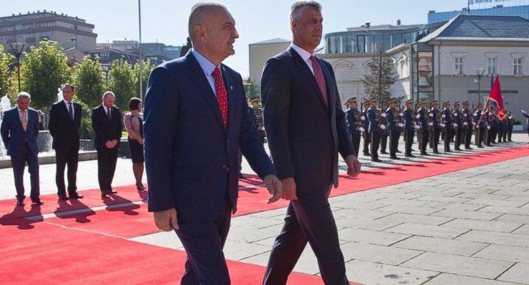 Kosovo's president Hashim Thaci welcomes Albania's President Ilir Meta