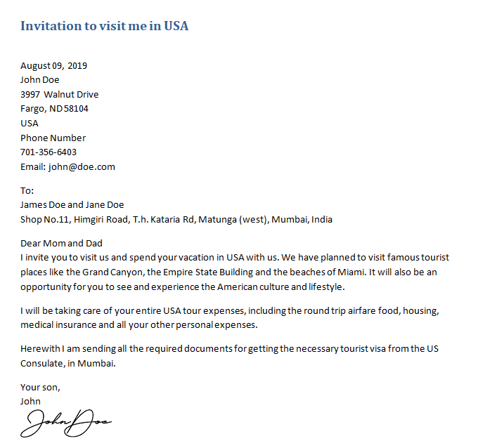 invitation letter for us visitor visa