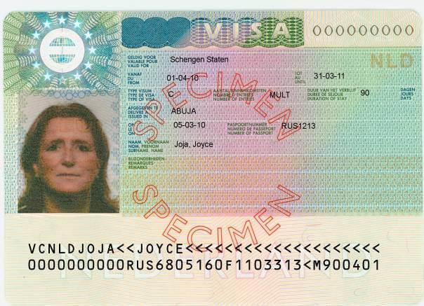 Schengen Visa Sticker