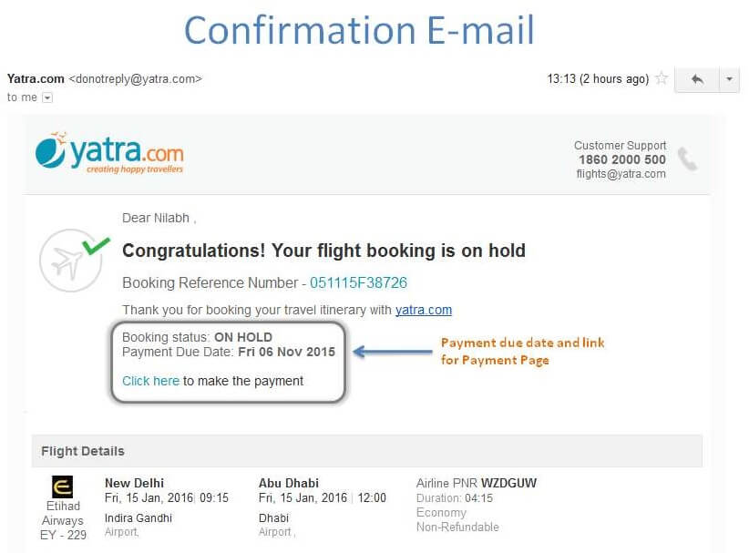 Confirmation email - Flight Booking on Hold