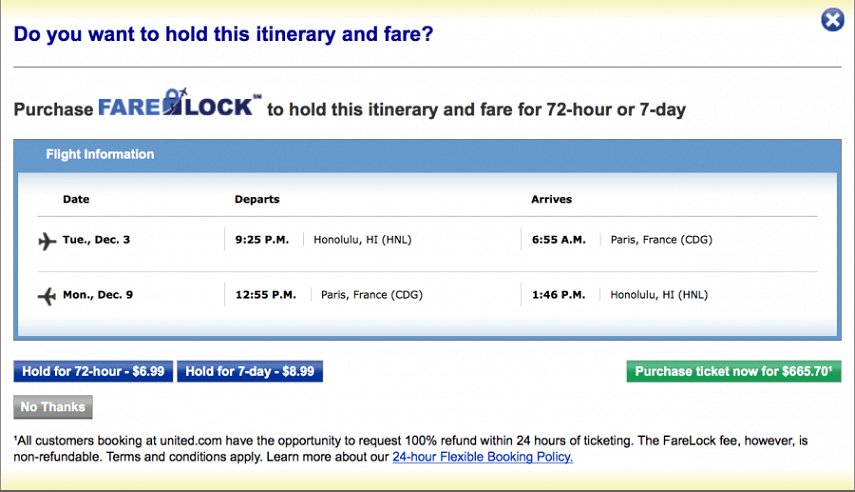 Holding the Itinerary for up to 7 days by Purchasing FareLock from United Airlines