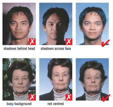 how the background of a schengen visa photo should be