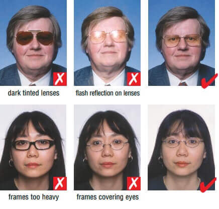 glasses for a schengen visa photograph
