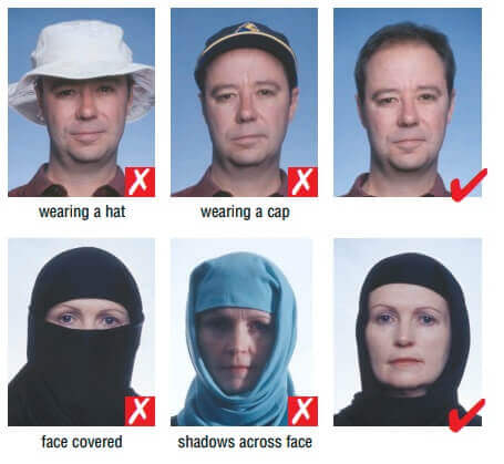 head coverings for schengen visa photo