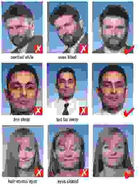 position of the head on a visa photograph