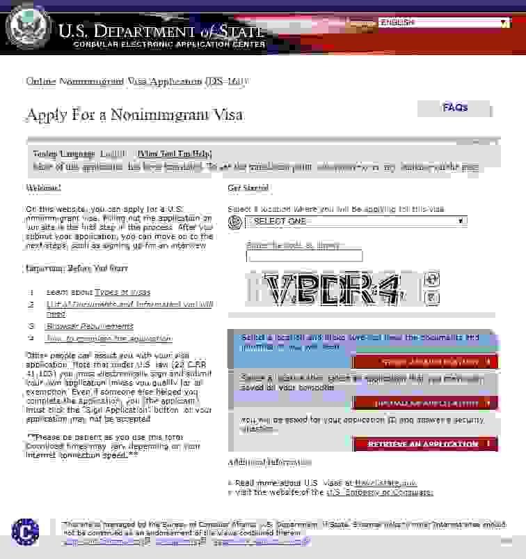 us visa form ds 160