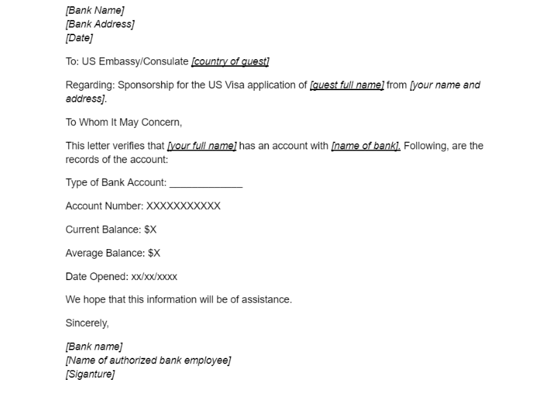 Bank Account Verification Letter For Sponsoring Us Visa Visaguide World