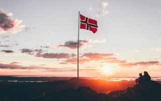 waving flag of norway